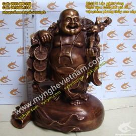 Tượng Phật Di Lạc, gánh vàng,Cao 25cm,giả cổ,Phật di lặc, gánh Tiền, TƯợng thờ cúng, Phật Tổ di lặc