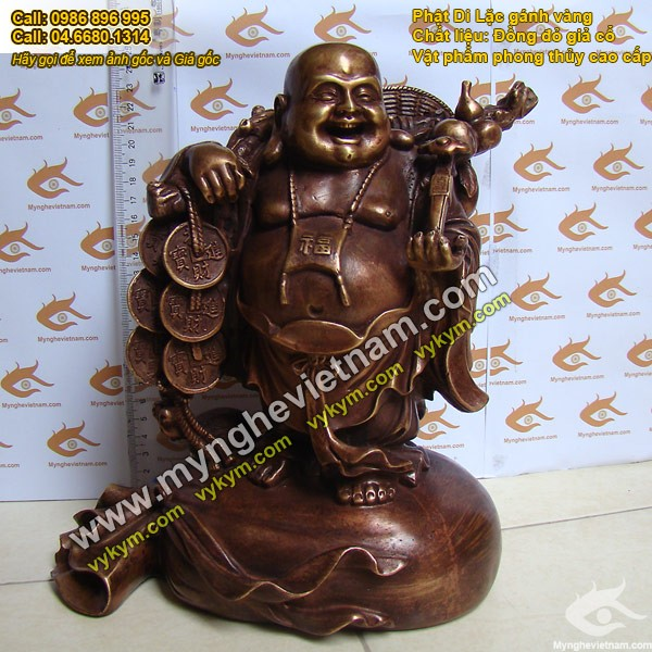 Tượng Phật Di Lạc gánh vàng 25cm bằng đồng mắt cua0