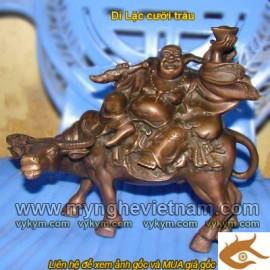 Phật Di Lặc,Cưỡi trâu,tượng phật di lặc,bằng đồng,cao 25cm