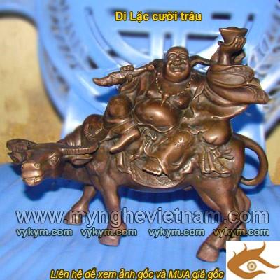 Tượng Phật Di Lặc Cưỡi trâu bằng đồng cao 25cm0
