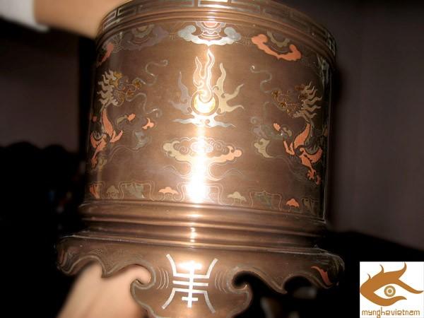Bát hương khảm bạc,bát hương đồng đỏ đk 20cm0