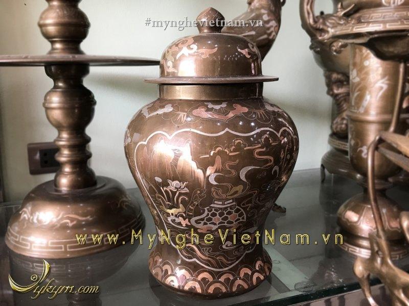 chóe thờ bằng đồng khảm bạc tam khí cao 35cm