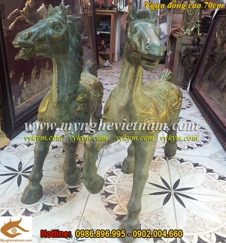 Ngựa Cống Phẩm, Ngựa đồng cao 70cm,Ngựa Cúng tiến, Ngựa Phong thủy, Ngựa Thờ, Đôi ngựa đồng, vật phẩm phong thủy