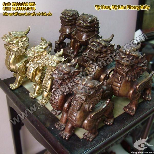 Tỳ hưu, Kỳ hưu, Tỳ hưu đồng, Cao 10cm, Tỳ hưu phong thủy bằng đồng nguyên chất, vật phẩm phong thủy, linh vật phong thủy