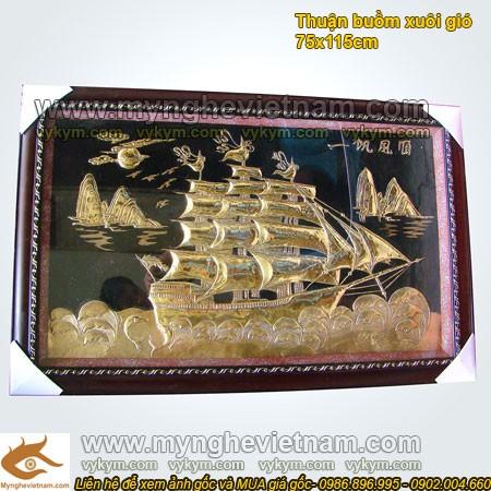 Tranh thuận buồm xuôi gió KT 75x115cm,tranh thuyền buồm bằng đồng0