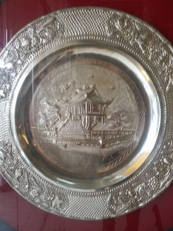 Đĩa đồng mạ bạc, đĩa chạm đồng, đĩa chùa một cột, đĩa đồng lưu niệm