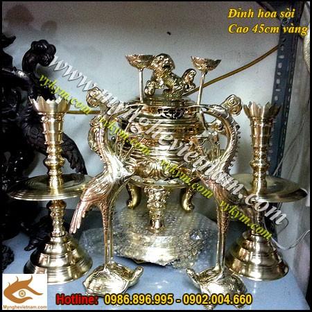 Đỉnh hoa sòi cao 45cm, đỉnh đồng thờ cúng,đỉnh thờ cao cấp,đồng vàng nguyên chất