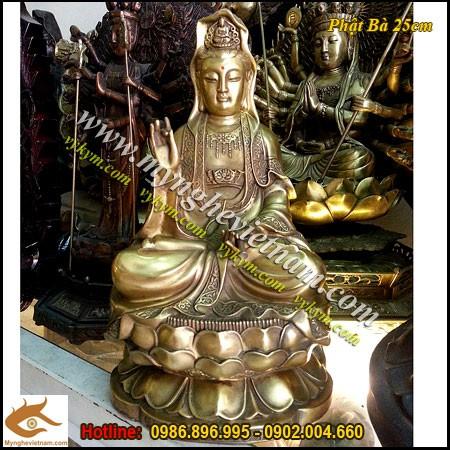 Tượng Phật Bà Quan Âm Bồ Tát, Cao 25cm,Tượng đồng vàng