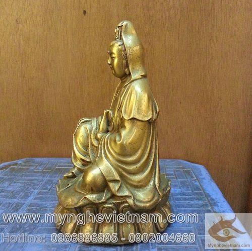 Tượng Quan âm bồ tát, tượng phật bà ngồi thiền, cao 20cm