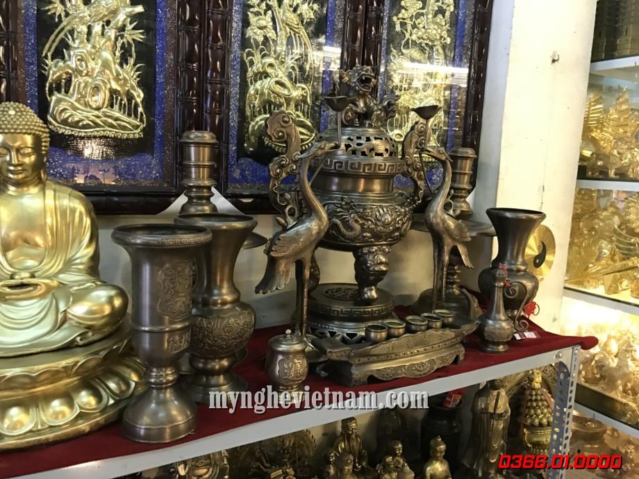 đỉnh thờ cúng rồng chầu phượng chầu giả cổ 60cm