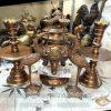 Đỉnh đồng mắt cua giả cổ, cao 50cm, mẫu hoa sòi, đỉnh thời Nguyễn, đỉnh thờ cao cấp