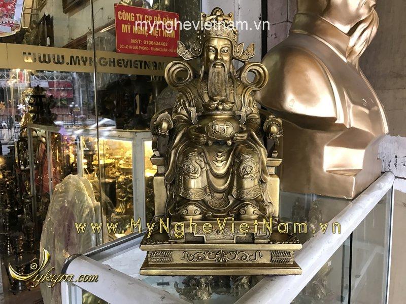 tượng thần tài ôm hũ vàng ngồi ghế rồng cao 40cm