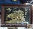 Tranh thuận buồm xuôi gió, tranh đồng thuyền buồm, tranh chạm đồng cao cấp, chạm phù điêu, kt 30x40cm
