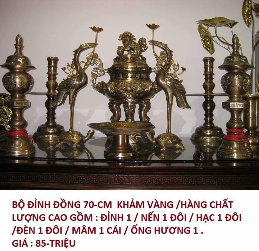 Đỉnh đồng thờ cúng ngũ sắc khảm bạc khảm vàng cao cấp0