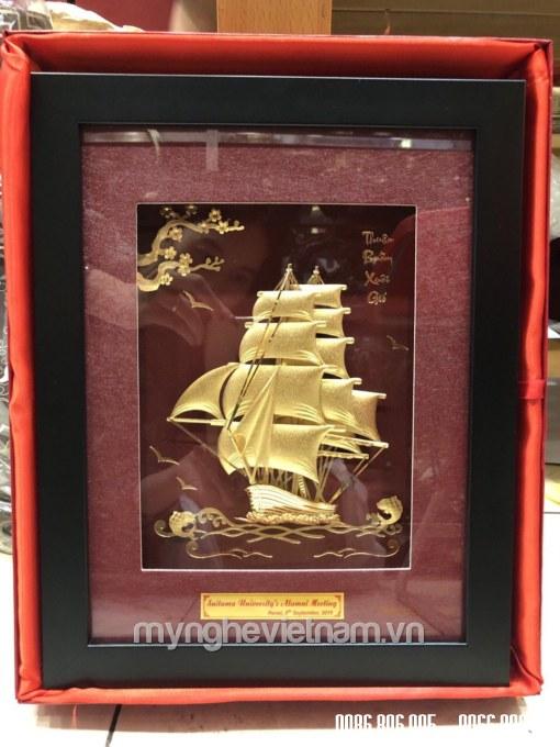 Tranh thuyền buồm dát vàng 24k kt 25x32cm làm quà tặng