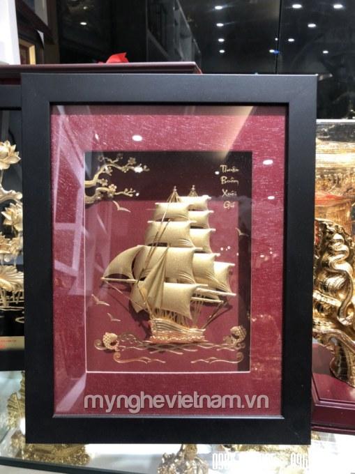 Tranh thuyền buồm dát vàng 24k kt 25x32cm cao cấp