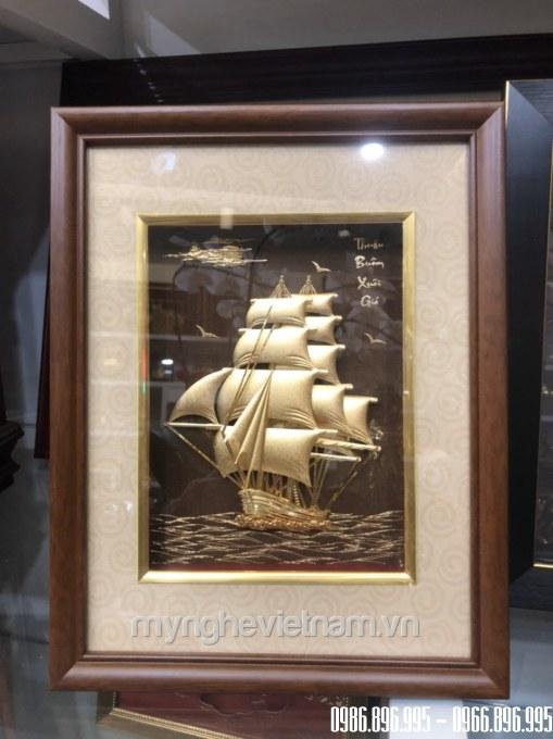 Tranh thuyền buồm dát vàng 24k kt 25x32cm