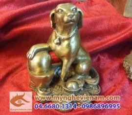 Con Chó đồng ngồi tiền, bằng đồng cao 15, vật phẩm phong thủy cho người hợp Tuất