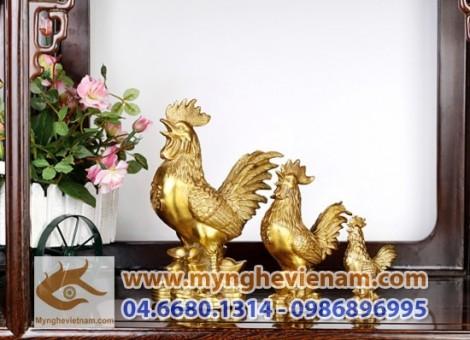 Sản xuất tượng gà đồng, gà phong thủy, kim kê, vật phẩm phong thủy bằng đồng