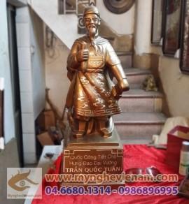 Tượng Trần Hưng Đạo 60cm, Đức Thánh Trần, tượng Trần Quốc Tuấn khảm bạc