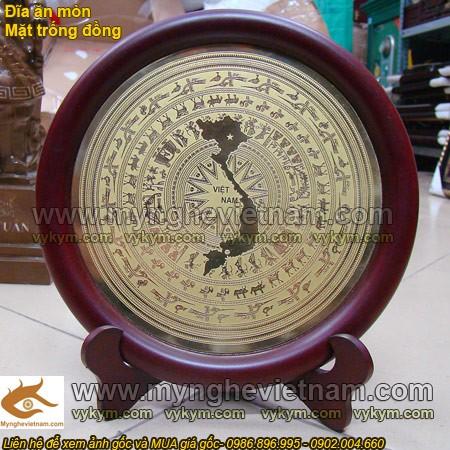 Đĩa đồng mặt trống đồng ăn mòn, đĩa bản đồ việt nam
