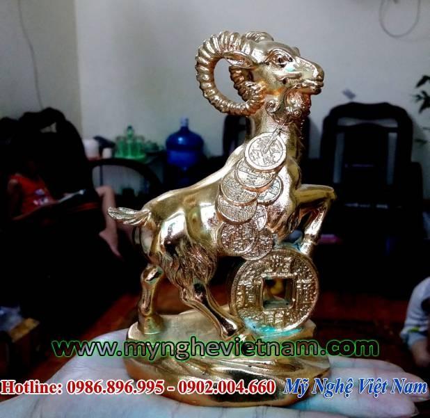 Tượng dê đồng mạ vàng, dê đồng cho năm mùi – PTD15V0