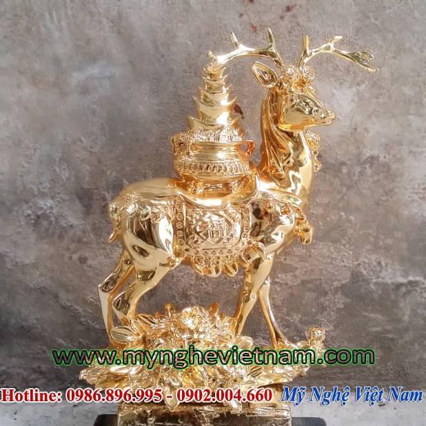 Tượng hươu đồng mạ vàng, hươu cõng hũ tiền phong thủy -PTH250