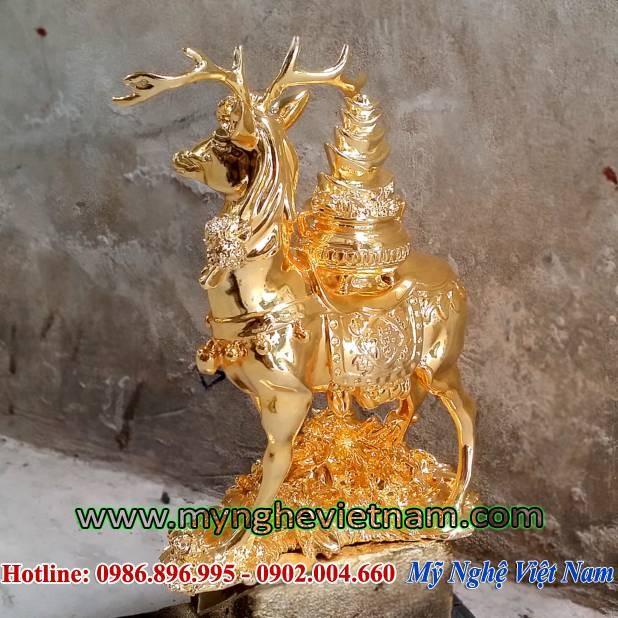 Tượng hươu đồng mạ vàng, hươu cõng hũ tiền phong thủy -PTH25