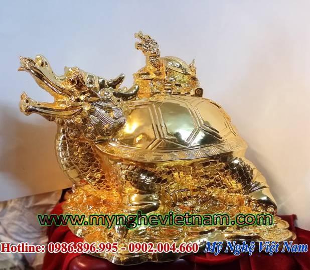 Tượng rùa đầu rồng mạ vàng phong thủy, long quy bằng đồng0