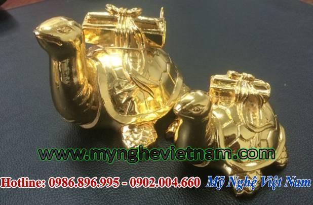 Tượng rùa phong thủy mạ vàng, rùa cõng sách bằng đồng0