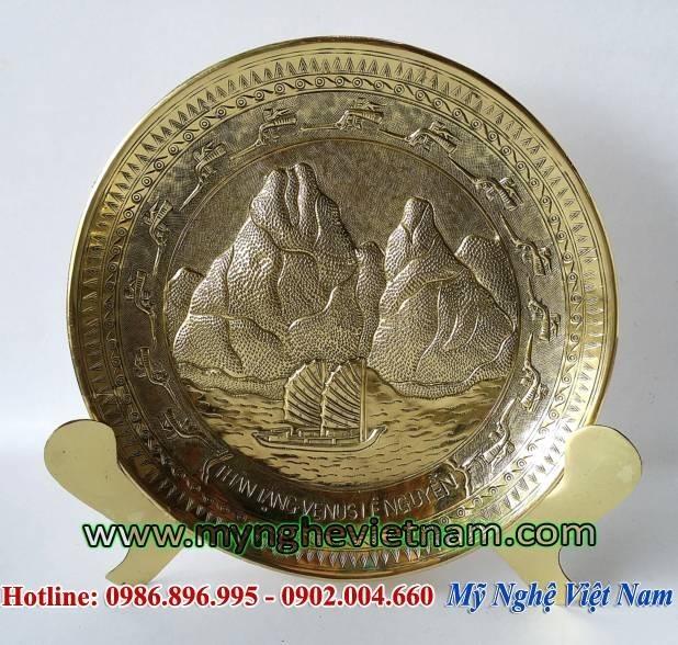 Đĩa quà tặng Hạ Long Quảng Ninh, đĩa đồng lưu niệm