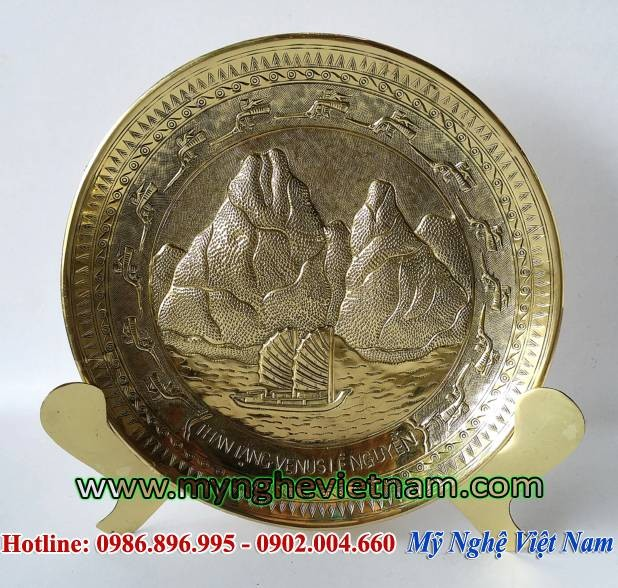 Đĩa quà tặng Hạ Long Quảng Ninh, đĩa đồng lưu niệm0