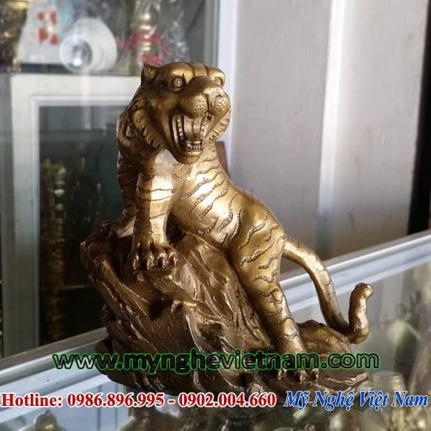 Tượng hổ bằng đồng cao 16cm, tượng phong thủy cho người thiếu Mộc