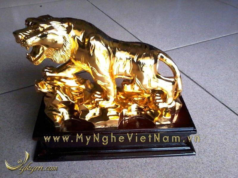 tượng hổ đồng mạ vàng dài 20cm