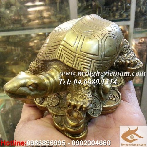 Rùa phong thủy, quy rùa bằng đồng dài 12cm0