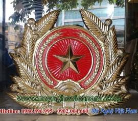 phù điêu huy hiệu quân đội nhân dân việt nam bằng đồng