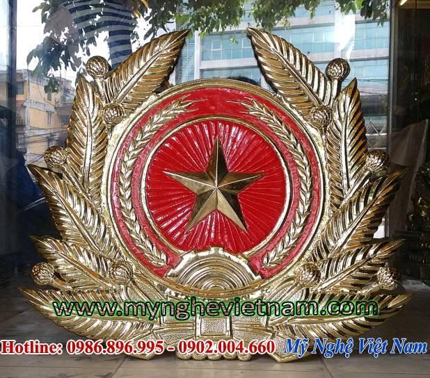 phù điêu huy hiệu quân đội nhân dân việt nam bằng đồng0