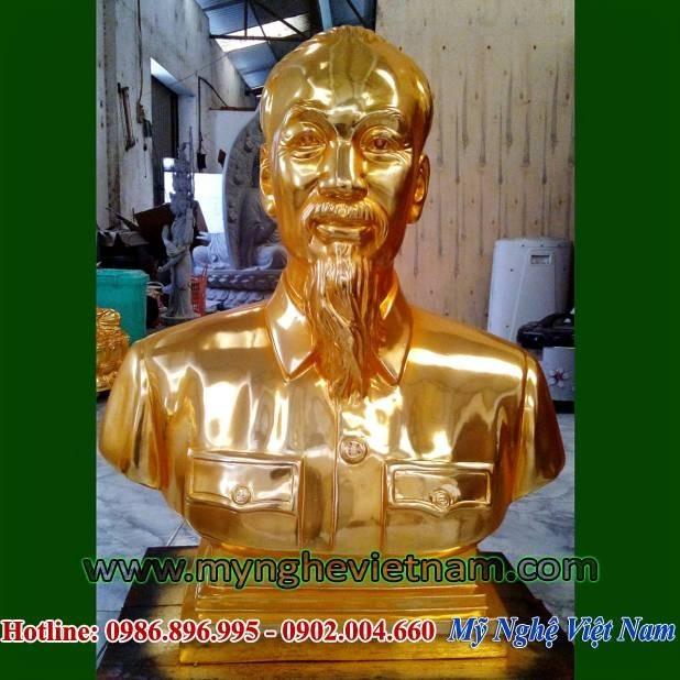 Tượng Bác Hồ bán thân mạ vàng cao 60cm