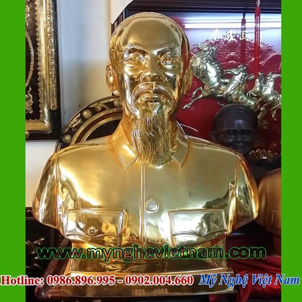 Tượng Bác Hồ bán thân mạ vàng cao 80cm0