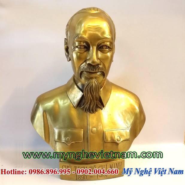 Tượng đồng Bác Hồ cao 40cm đồng vàng0