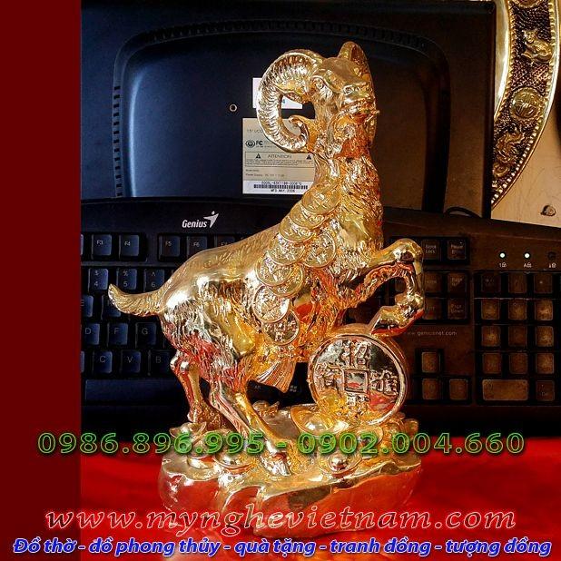 Tượng dê đồng mạ vàng ròng 18k 24k 9990