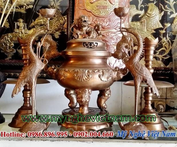 Bán bộ đỉnh thờ hoa sòi mắt cua 42cm bằng đồng