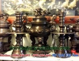 Đỉnh đồng thờ cúng 42cm màu hun đen giả cổ