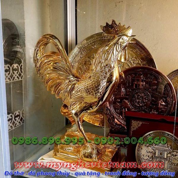 Tượng gà đồng mạ vàng cao 36cm, tượng gà phong thủy cao cấp