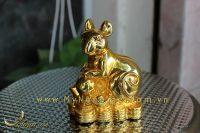 tượng chuột đồng ngồi tiền mạ vàng cao cấp