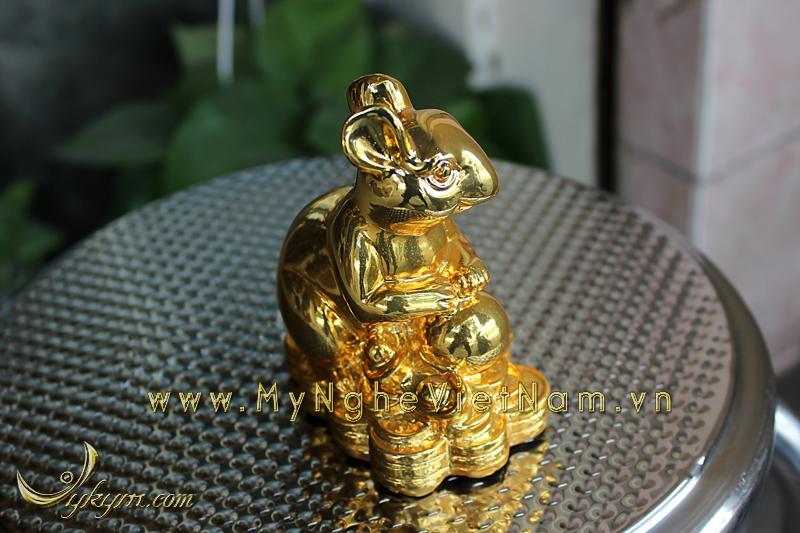 tượng chuột đồng ngồi tiền mạ vàng cao cấp 1