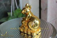 tượng chuột đồng ngồi tiền mạ vàng cao cấp 3