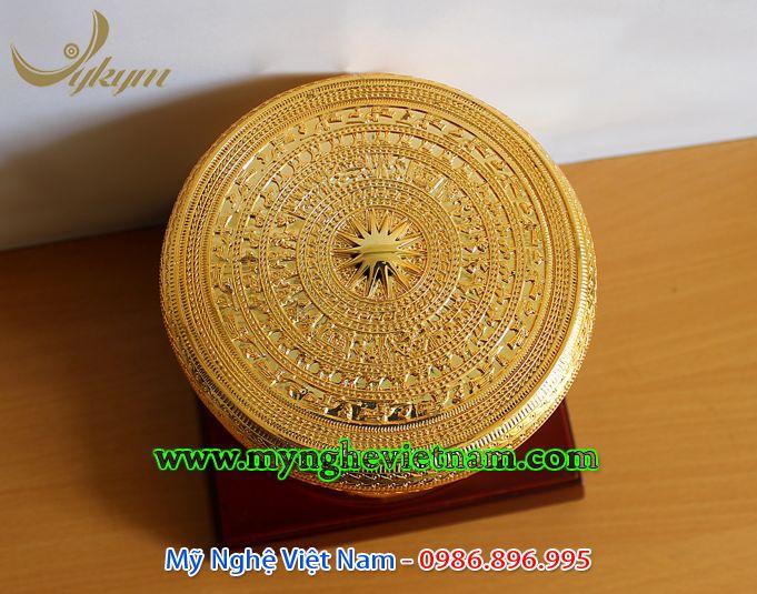 trống đồng quà tặng mạ vàng