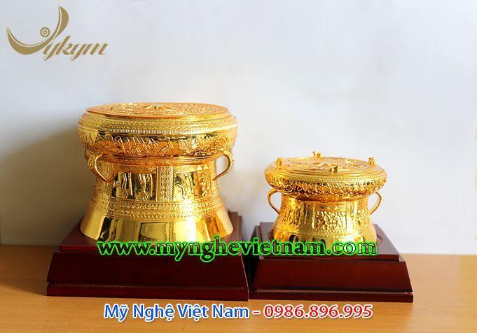 Trống đồng quà tặng mạ vàng cao cấp 15cm 12cm0