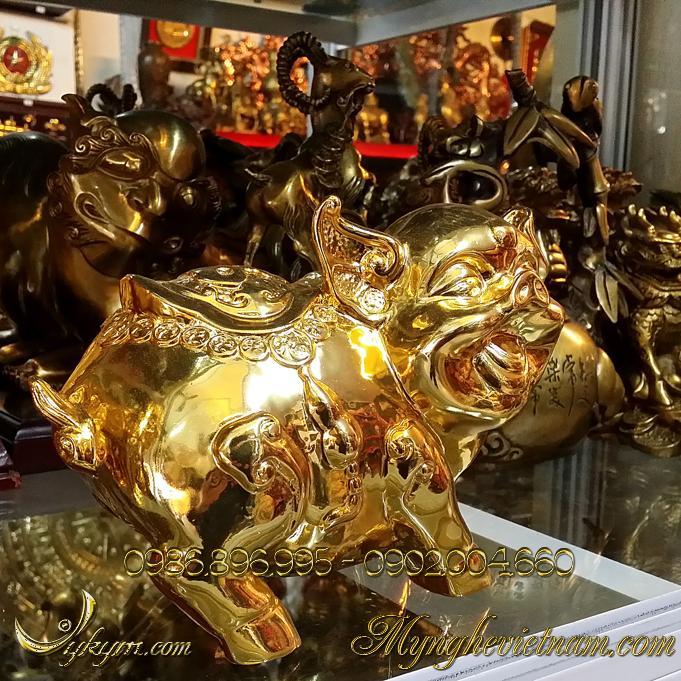 tượng heo đồng mạ vàng phong thủy cao cấp 3